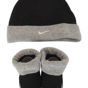 Baby Nike Black Beanie Hat & Booties Set